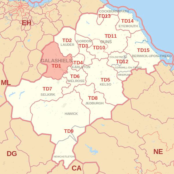 TD1 Postcode area Skip Hire Selkirk