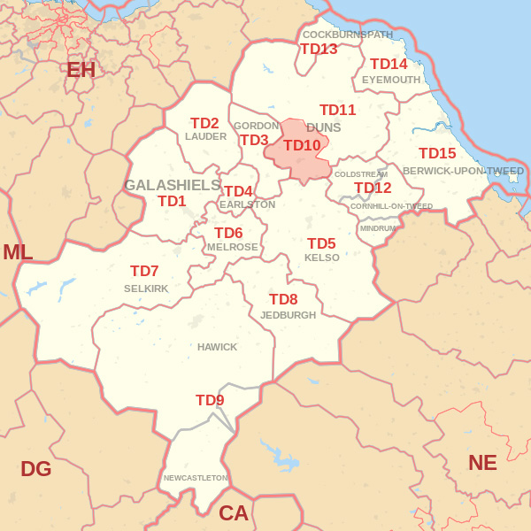 Map showing the TD10 Postcode area Covered By Selkirk skip Hire