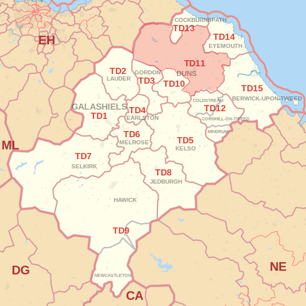 Map showing the TD11 Postcode area Cpvered By Selkirk skip Hire