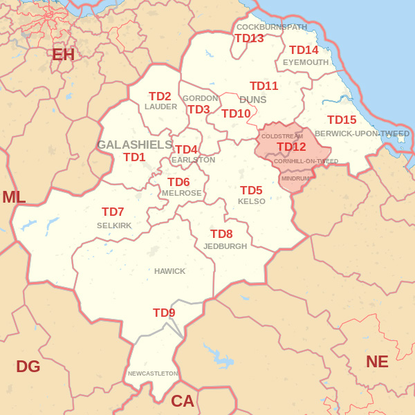 Map showing the TD12 Postcode area Covered By Selkirk skip Hire