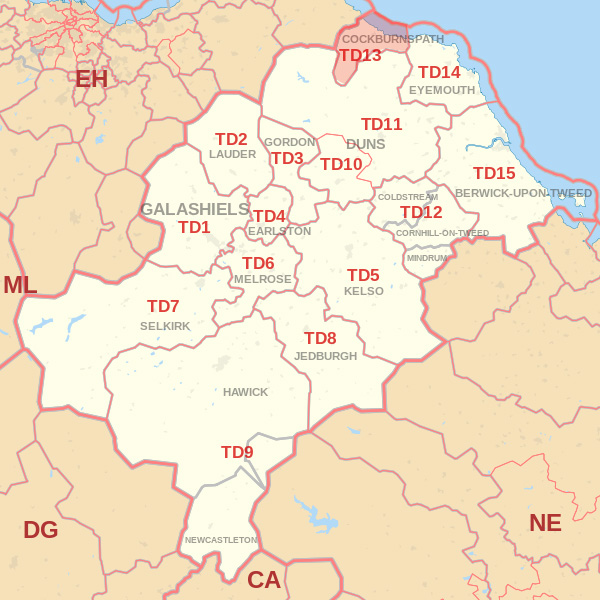 Map showing the TD13 Postcode area Covered By Selkirk skip Hire