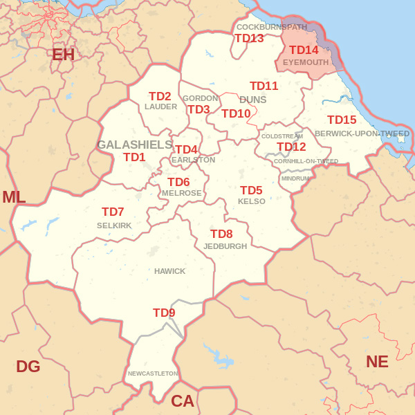 Map showing the TD14 Postcode area Covered By Selkirk skip Hire