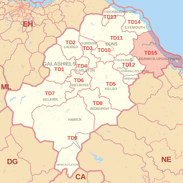 Map showing the TD15 Postcode area Covered By Selkirk skip Hire