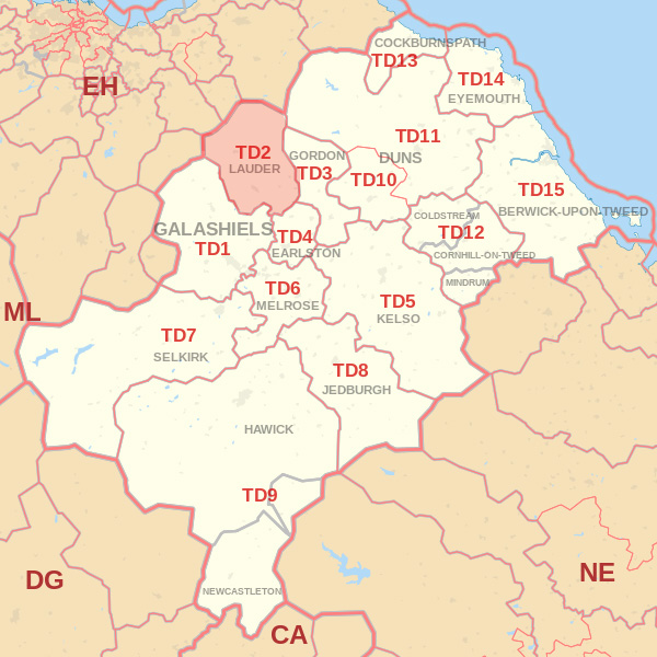 Map showing the TD2 Postcode area Covered By Selkirk skip Hire