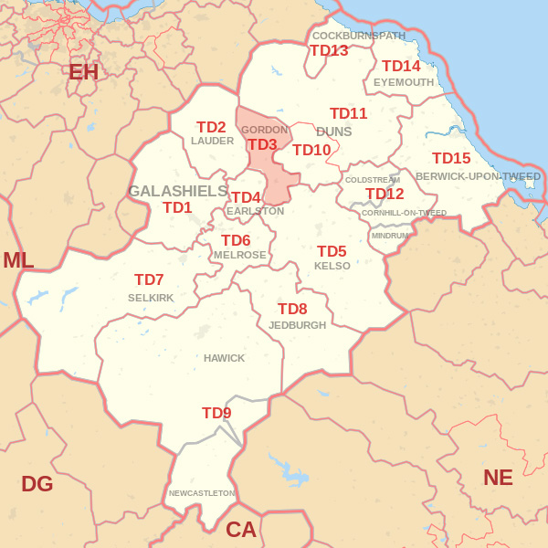 Map showing the TD3 Postcode area Covered By Selkirk skip Hire