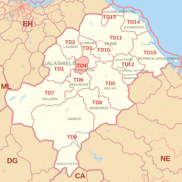 Map showing the TD4 Postcode area Cpvered By Selkirk skip Hire