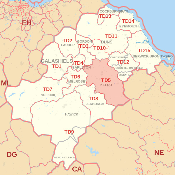 Map showing the TD5 Postcode area Covered By Selkirk skip Hire