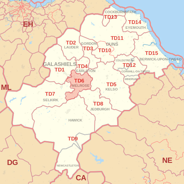 Map showing the TD6 Postcode area Cpvered By Selkirk skip Hire