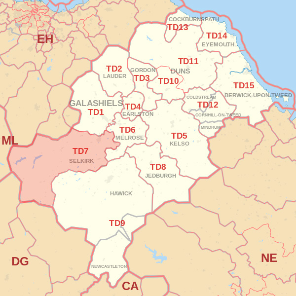 Map showing the TD7 Postcode area Covered By Selkirk skip Hire