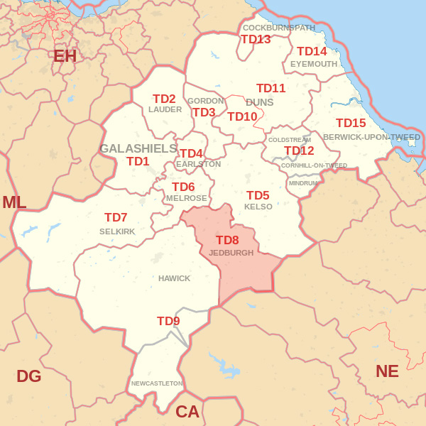 Map showing the TD8 Postcode area Covered By Selkirk skip Hire