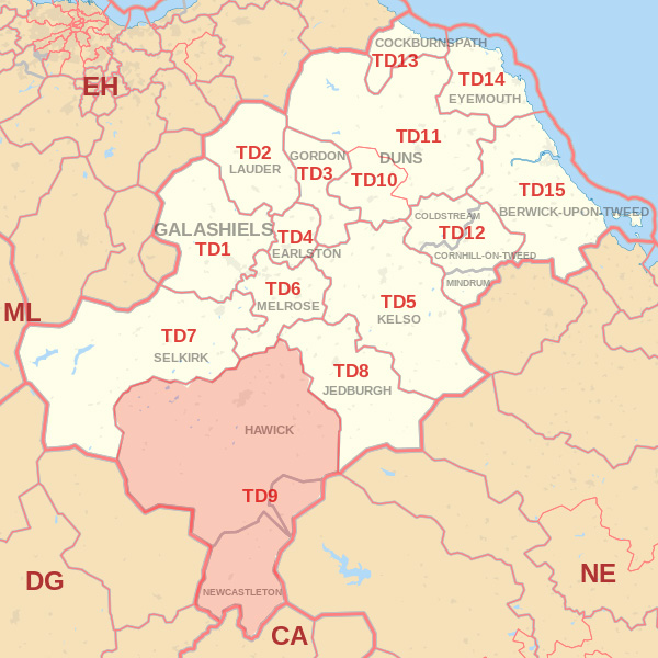 Map showing the TD9 Postcode area Covered By Selkirk skip Hire